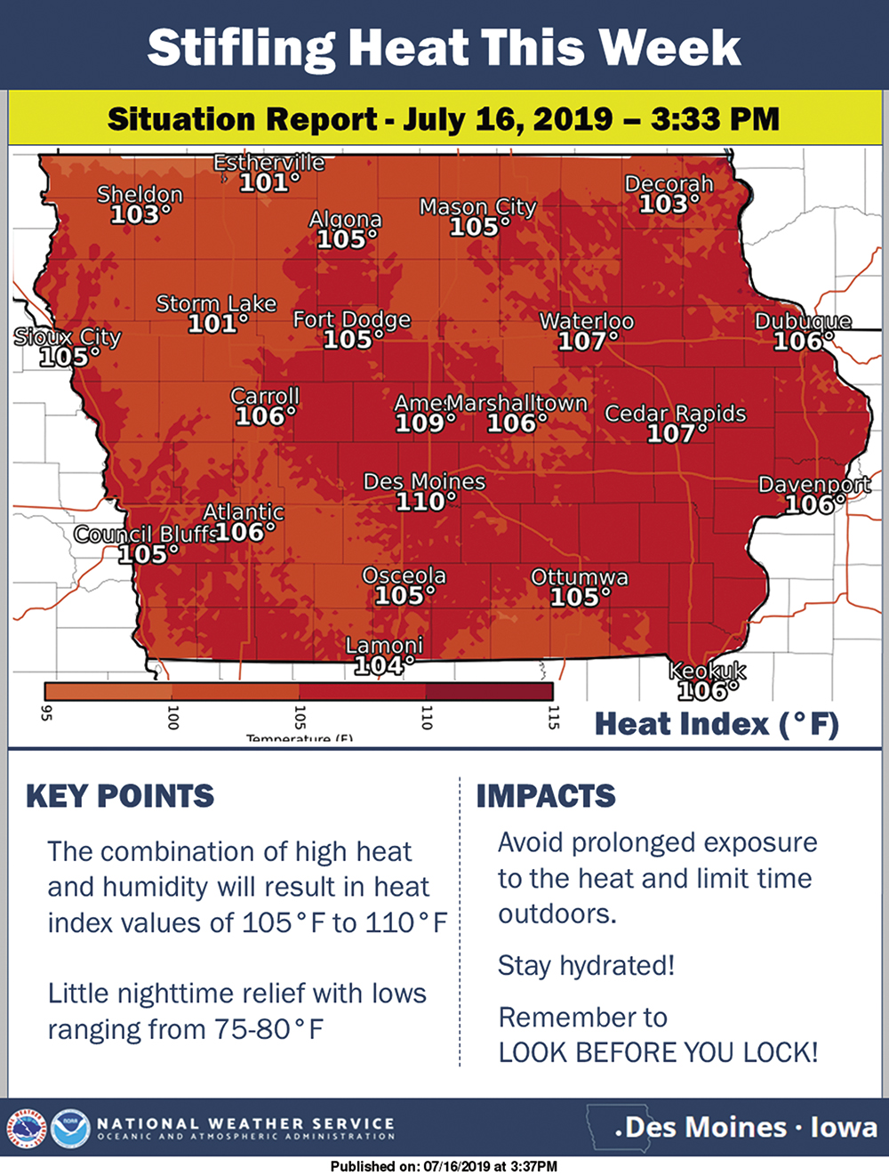 Entire state of Iowa under excessive heat advisory