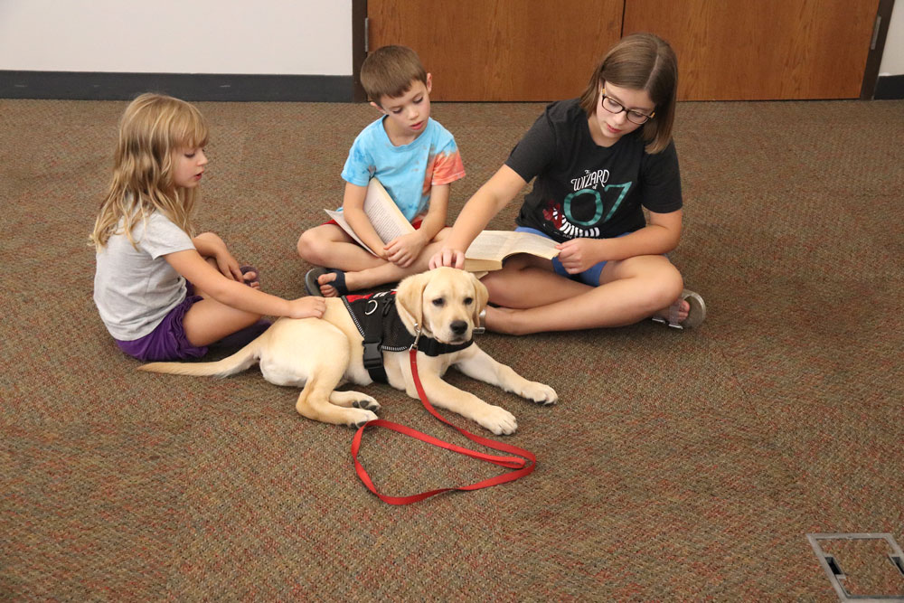 Retrieving Freedom stops by CC Library with service dogs to help children read