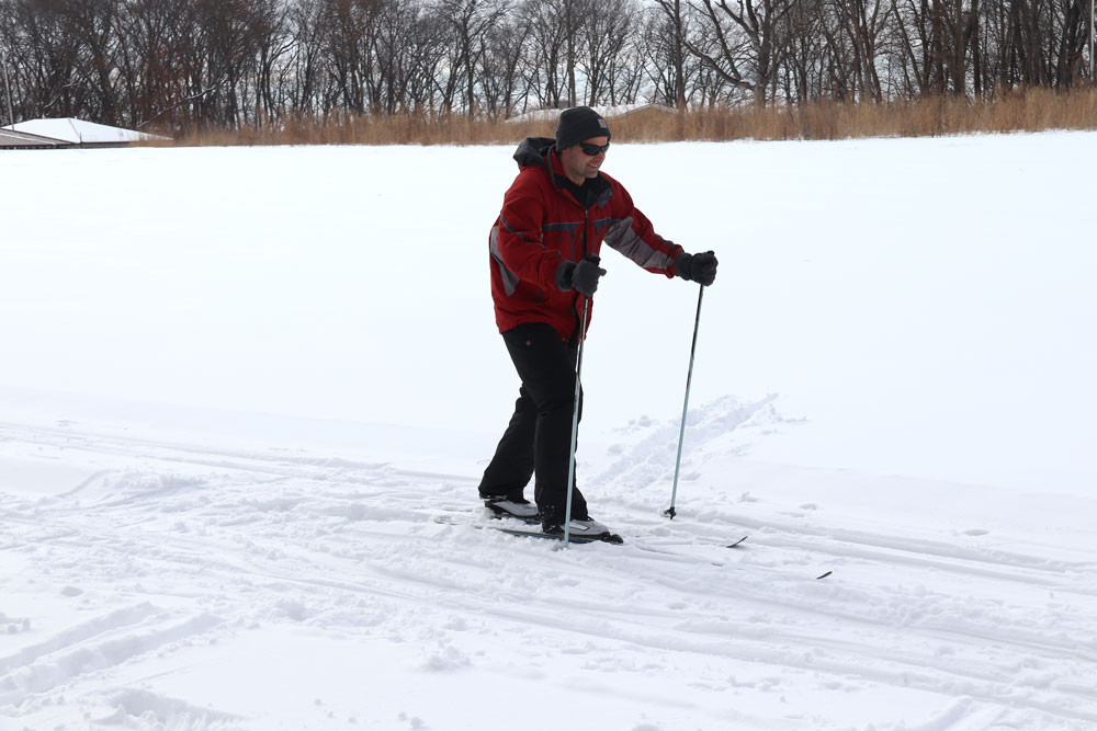 Cross country skiers glide along nature trails at Tosanak